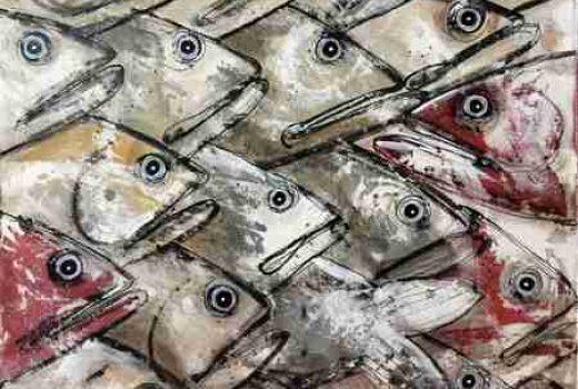 Toiles peinte -Sardines