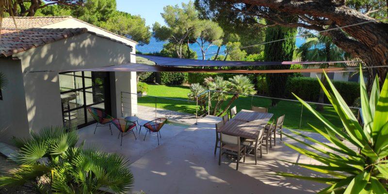 Protection solaire résidentielle galerie de voiles d'ombrage
